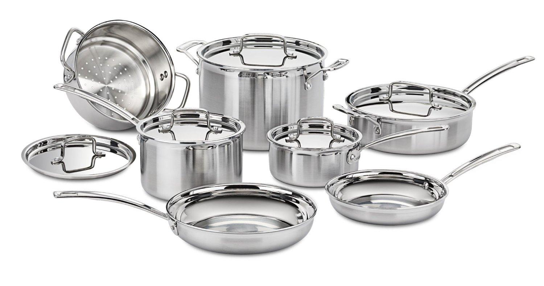 1. Cuisinart Multiclad Pro Stainless Steel 12 Piece Cookware Set