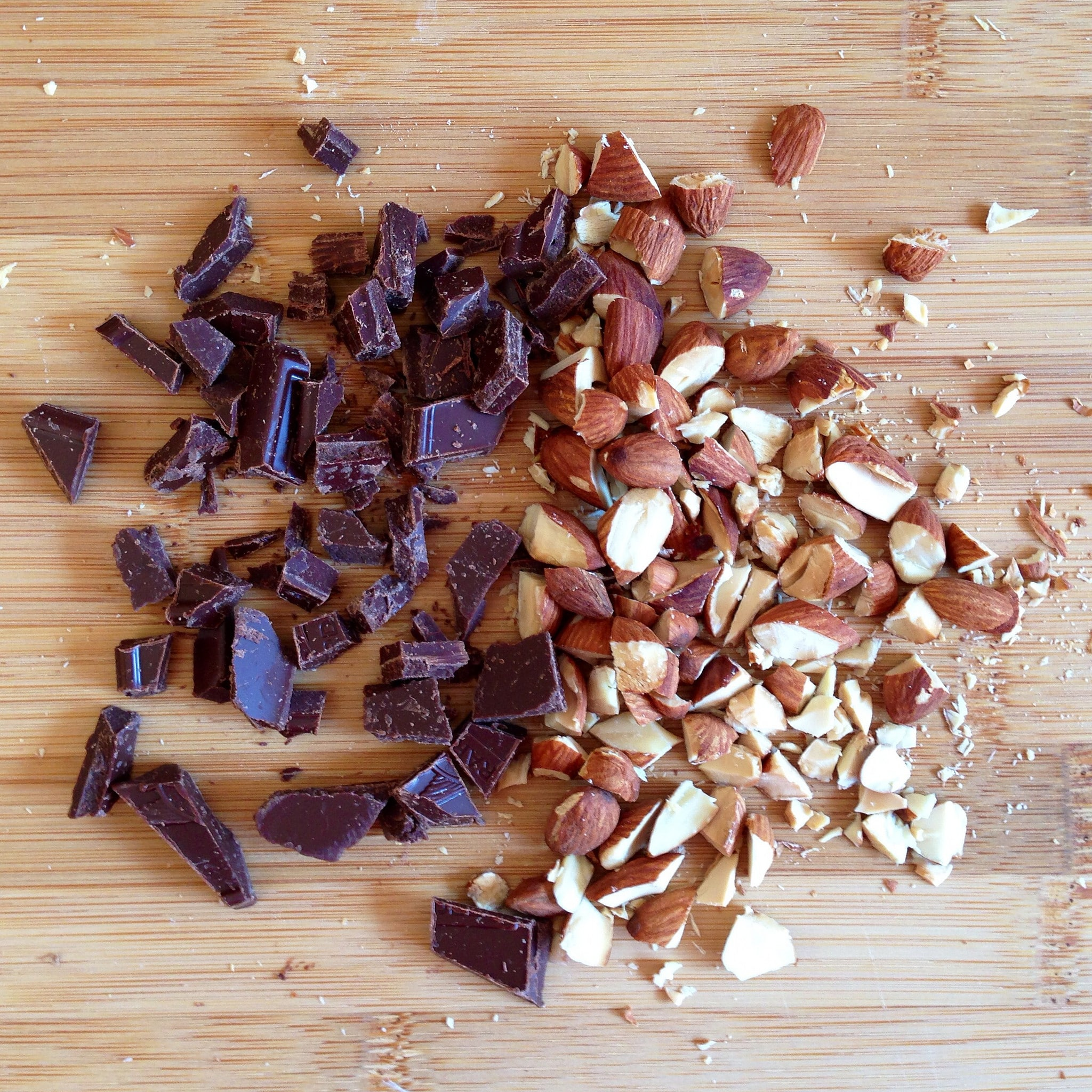 chocolate and nuts, pieces of chocolate
