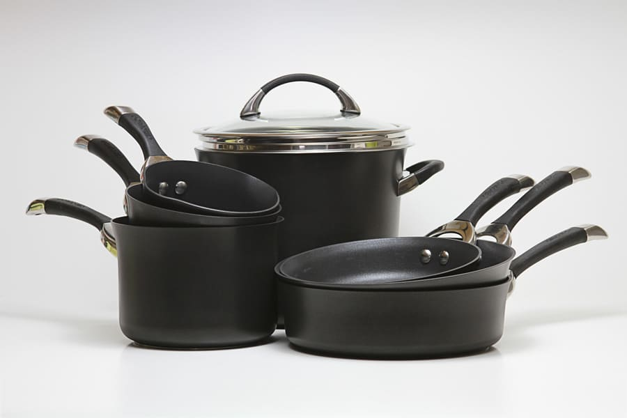 diamond pots and pans, black pots and pans