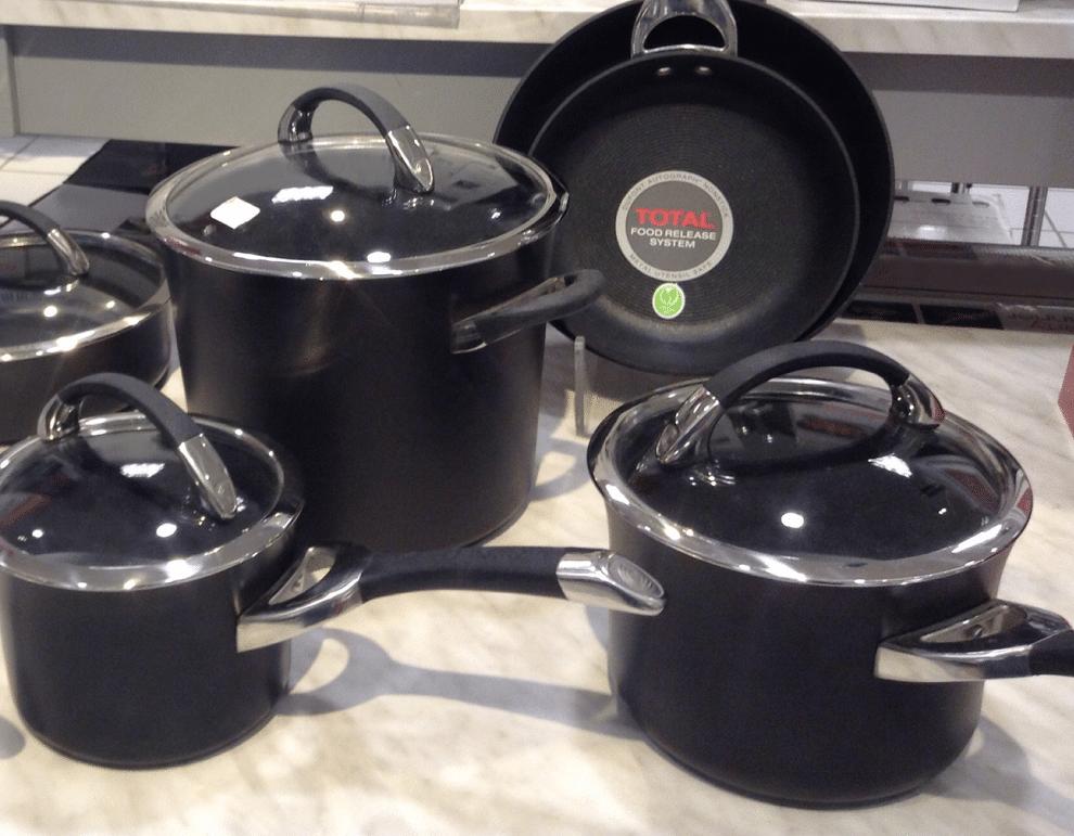 black pots and pans set, black cookware