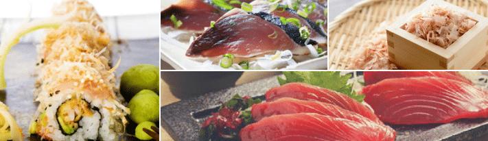 bonito sushi, bonito sashimi, bonito flakes