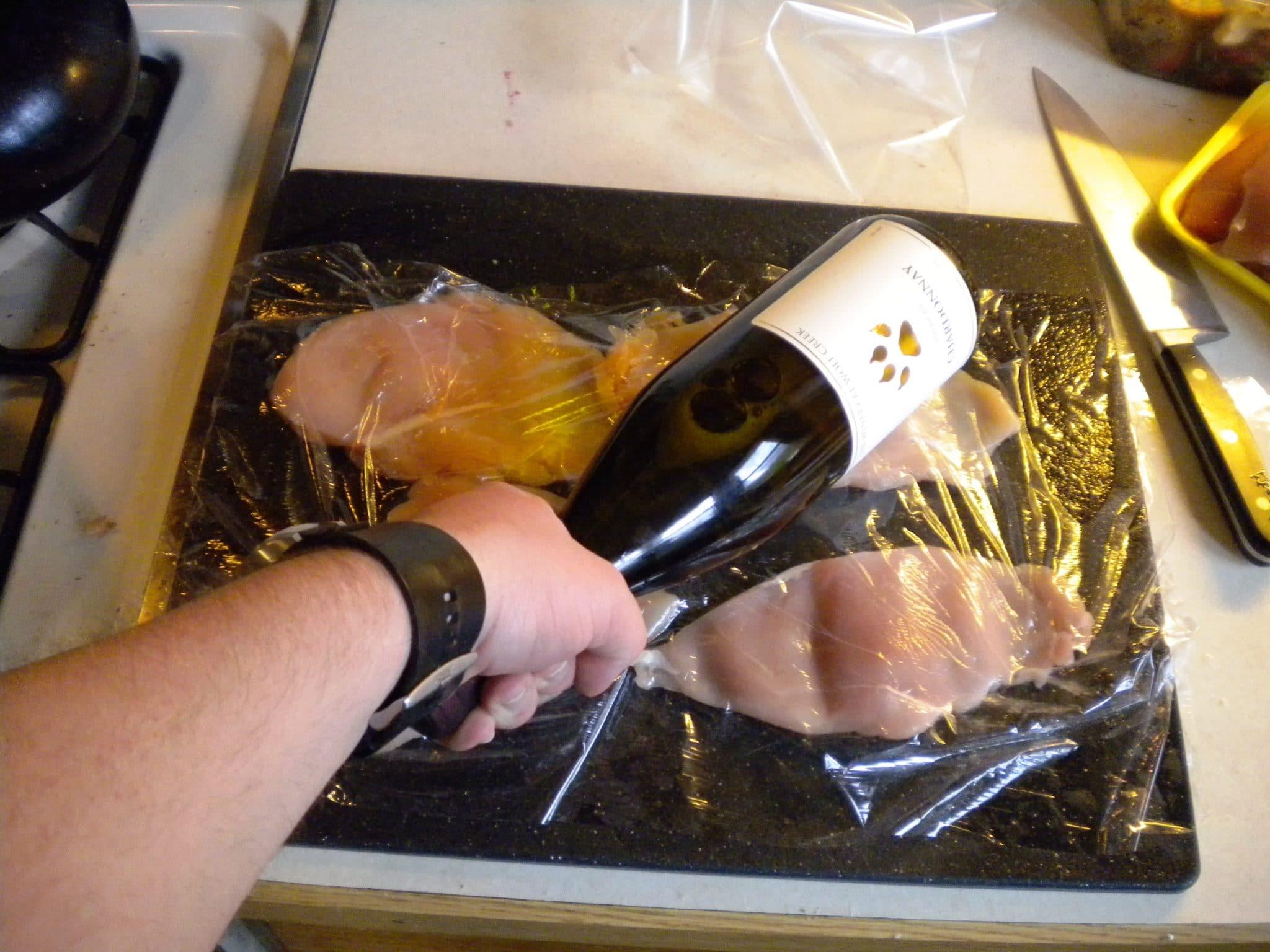 chicken breast preparation, beating chicken breast