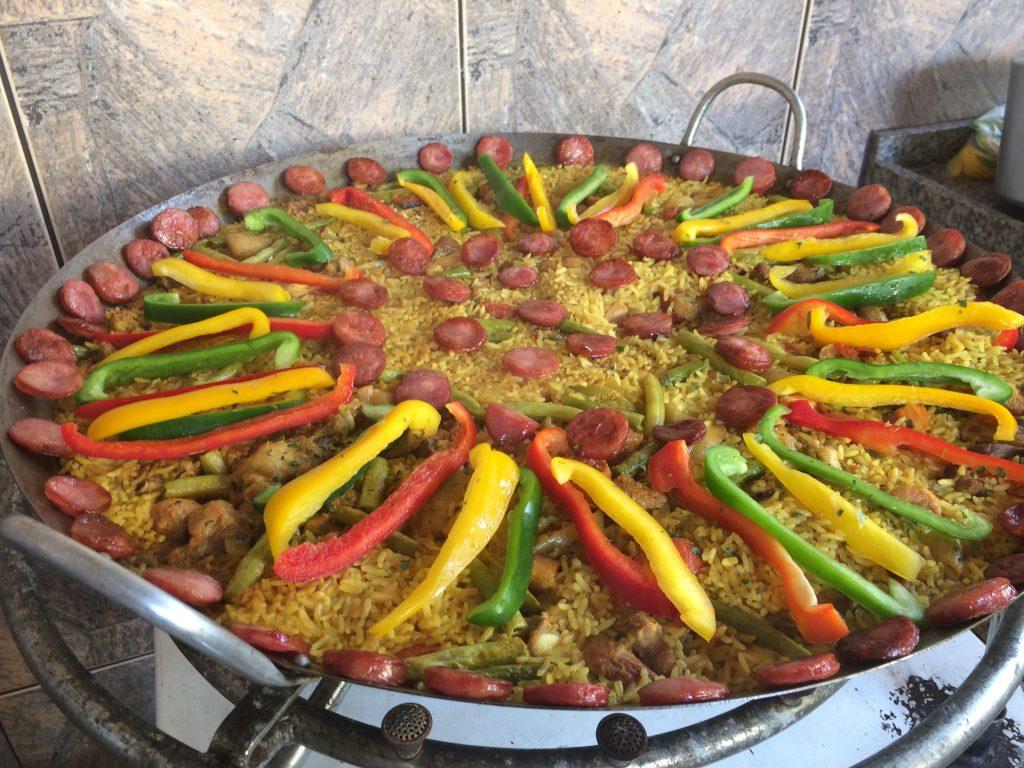 smoked pork belly, shrimp paella