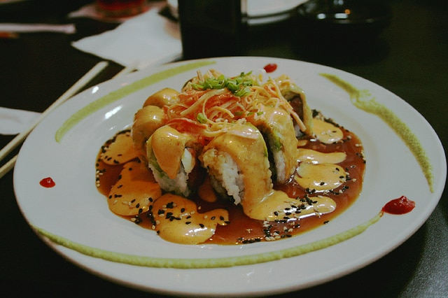 spicy sushi, seafood roll