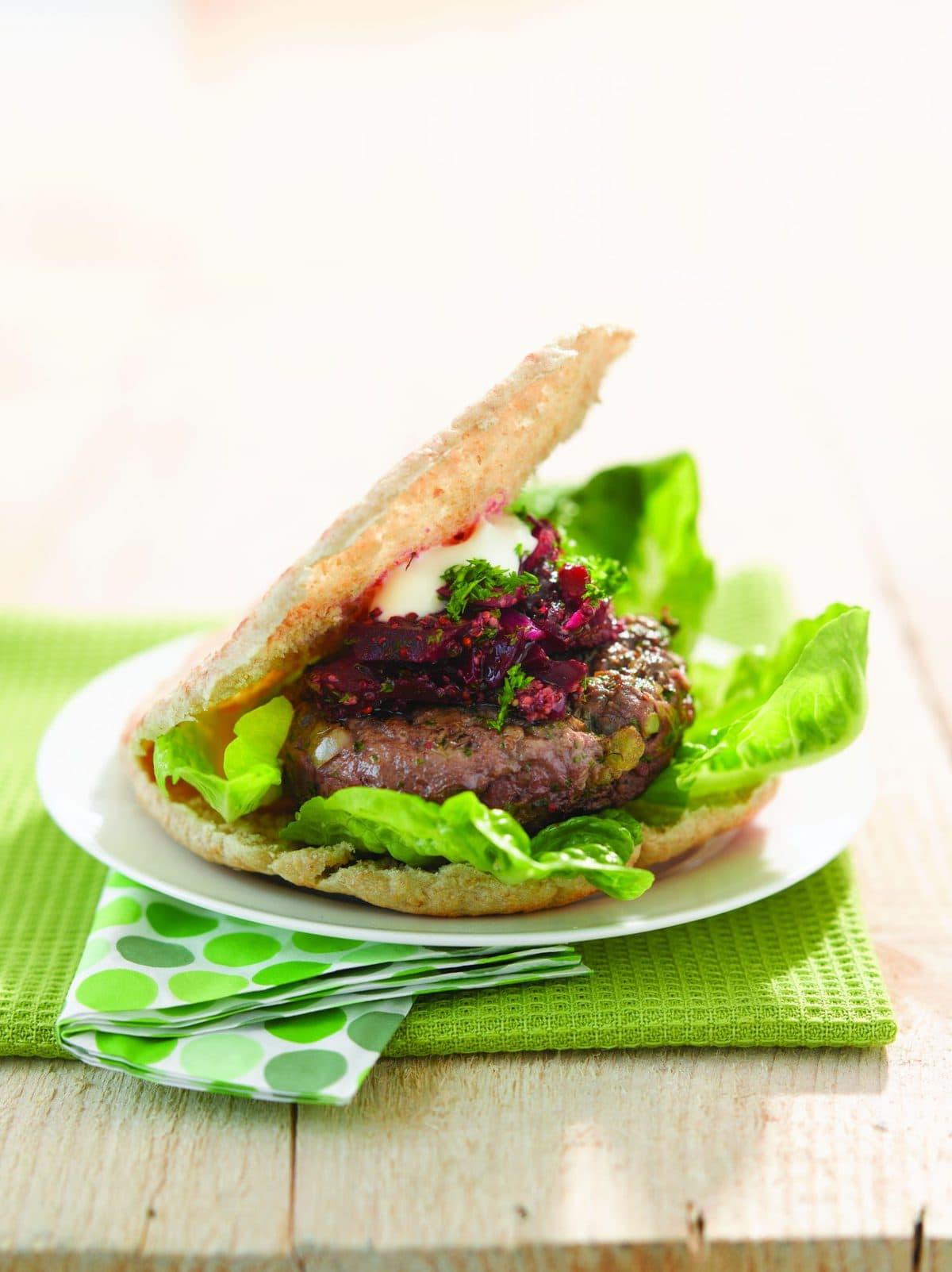 Pita Bread Venison Burger