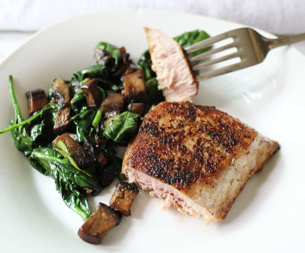 Keto Tuna Steak Dinner With Spinach And Mushrooms